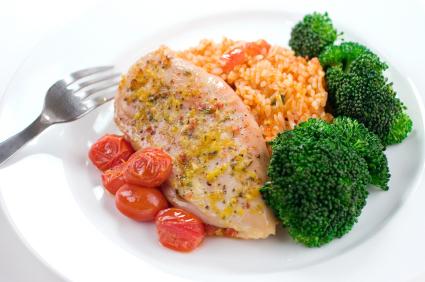 Kurczak z ryżem i brokułami
