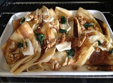 Naleśniki ze szpinakiem i gorgonzolą